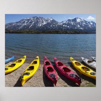 Panorama of kayaks on Bernard Lake in Alaska 2 Poster