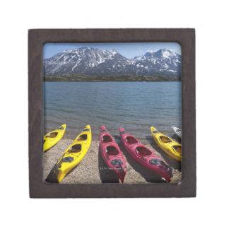 Panorama of kayaks on Bernard Lake in Alaska 2 Premium Jewelry Box