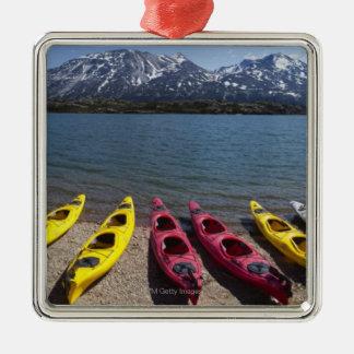 Panorama of kayaks on Bernard Lake in Alaska 2 Silver-Colored Square Decoration