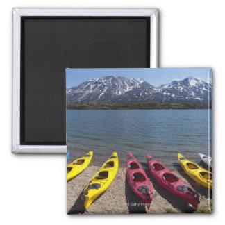 Panorama of kayaks on Bernard Lake in Alaska 2 Square Magnet