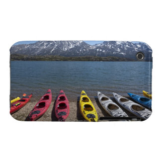 Panorama of kayaks on Bernard Lake in Alaska iPhone 3 Case-Mate Cases