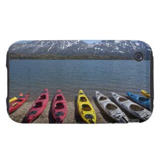 Panorama of kayaks on Bernard Lake in Alaska iPhone 3 Tough Cases