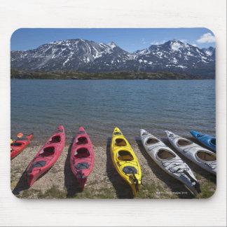 Panorama of kayaks on Bernard Lake in Alaska Mouse Mat