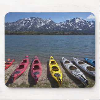 Panorama of kayaks on Bernard Lake in Alaska Mouse Pad