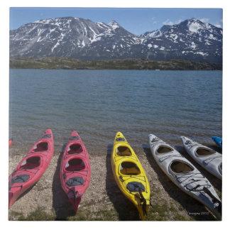 Panorama of kayaks on Bernard Lake in Alaska Tile
