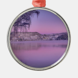 Panorama of Lake Bled Julian Alps Slovenia Silver-Colored Round Decoration
