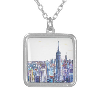 Panorama Of Manhattan Skyline in watercolor Silver Plated Necklace