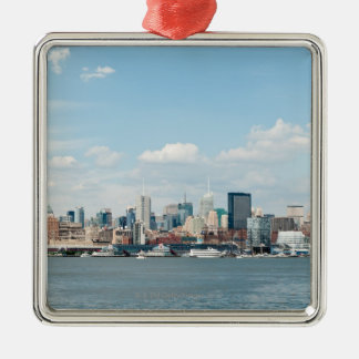Panorama of Midtown Manhattan over Hudson River Silver-Colored Square Decoration