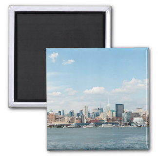 Panorama of Midtown Manhattan over Hudson River Square Magnet