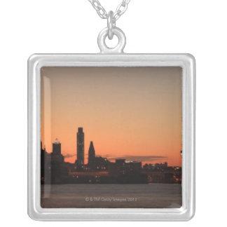 Panorama of Philadelphia, Pennsylvania Silver Plated Necklace