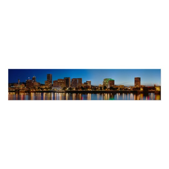 Panorama of Portland Oregon at night Poster