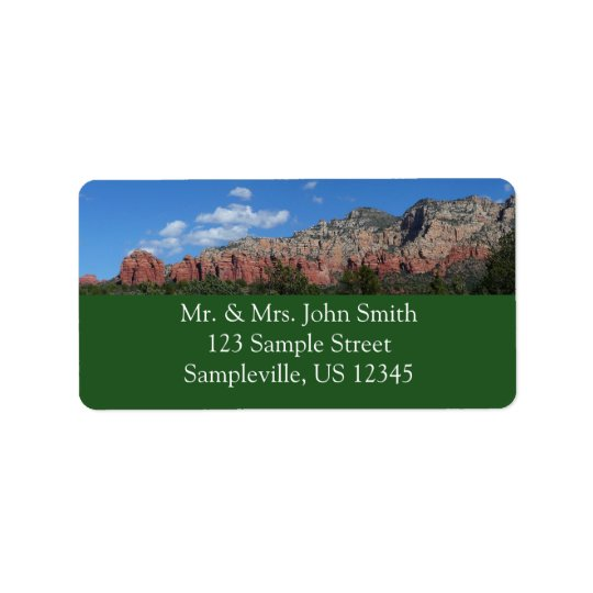 Panorama of Red Rocks in Sedona Arizona Address Label