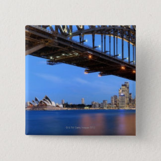 Panorama of Sydney Harbour Bridge, Sydney Opera 15 Cm Square Badge