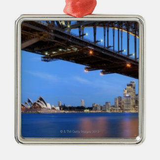 Panorama of Sydney Harbour Bridge, Sydney Opera Silver-Colored Square Decoration