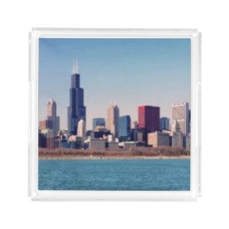 Panorama of the Chicago skyline Acrylic Tray