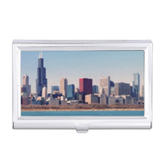 Panorama of the Chicago skyline Business Card Holder