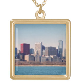 Panorama of the Chicago skyline Gold Plated Necklace