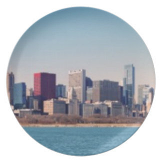 Panorama of the Chicago skyline Plate