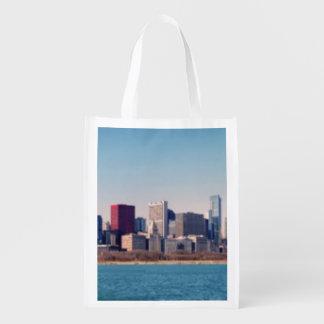 Panorama of the Chicago skyline Reusable Grocery Bag