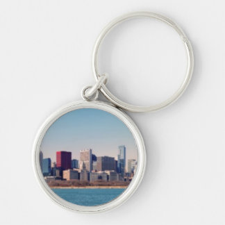 Panorama of the Chicago skyline Silver-Colored Round Key Ring