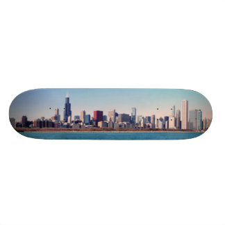 Panorama of the Chicago skyline Skateboard Deck
