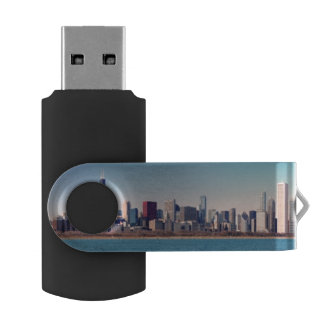Panorama of the Chicago skyline USB Flash Drive
