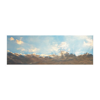 Panorama Sun Rays Shining Behind Big Clouds Gallery Wrapped Canvas