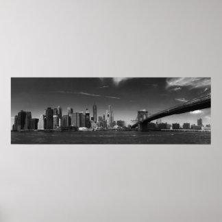 Panoramic Black White Brooklyn Bridge New York Poster