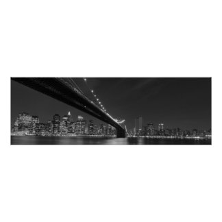 Panoramic Black White New York City Skyline Poster
