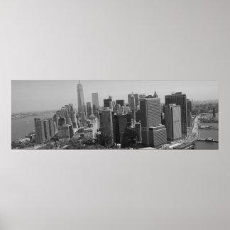 Panoramic Black White New York Skyline Poster