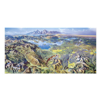 Panoramic Drawing Of Yellowstone Customised Photo Card