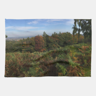 Panoramic English forest landscape in autumn Tea Towel