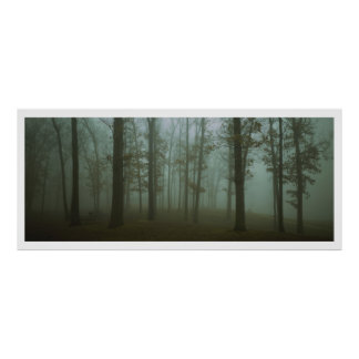 Panoramic Gloomy Forest Landscape Poster