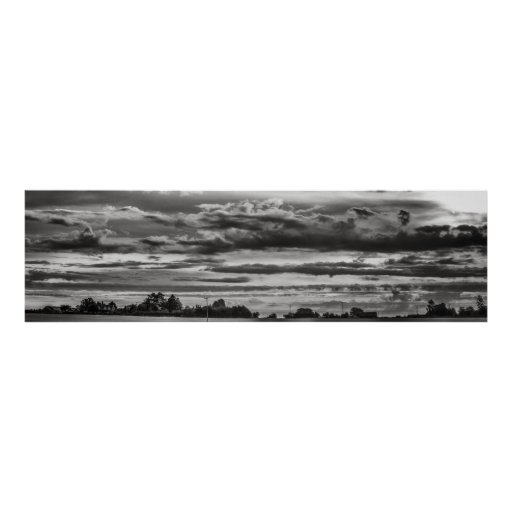 Panoramic Landscape with powerful cloud formations Poster