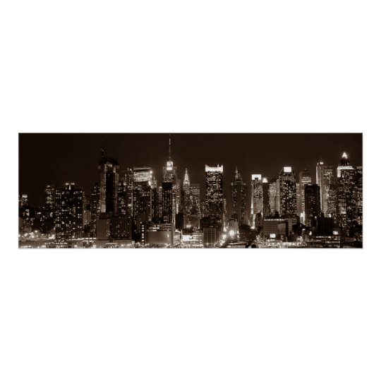 Panoramic Sepia Brown New York City Night Artwork
