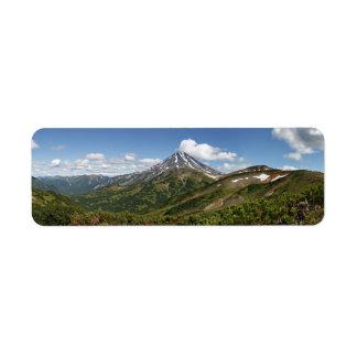 Panoramic summer volcano landscape of Kamchatka Return Address Label