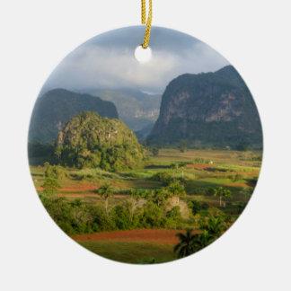 Panoramic valley landscape, Cuba Round Ceramic Decoration