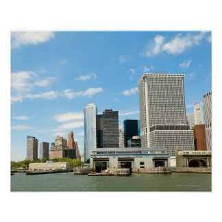 Panoramic view at skyscrapers and Battery park Poster