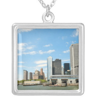 Panoramic view at skyscrapers and Battery park Silver Plated Necklace