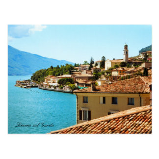 Panoramic view Limone Lake Garda Italy Postcard