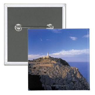 panoramic view of a light house on a cliff 15 cm square badge