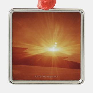 panoramic view of a sunrise Silver-Colored square decoration