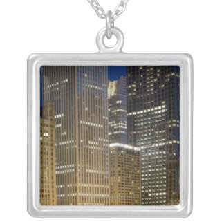 Panoramic view of buildings along the Chicago Silver Plated Necklace