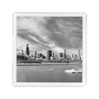 Panoramic view of Chicago skyline in winter Acrylic Tray