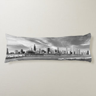 Panoramic view of Chicago skyline in winter Body Cushion