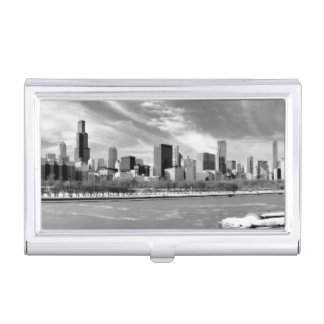 Panoramic view of Chicago skyline in winter Business Card Holder