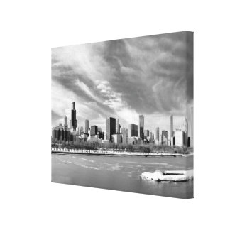 Panoramic view of Chicago skyline in winter Canvas Print
