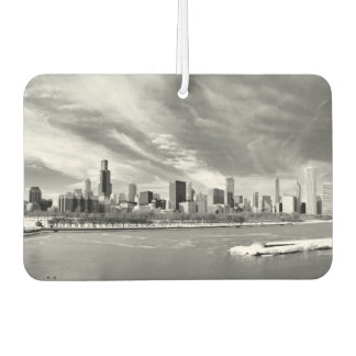 Panoramic view of Chicago skyline in winter Car Air Freshener