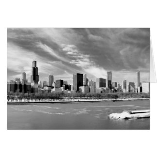 Panoramic view of Chicago skyline in winter Card
