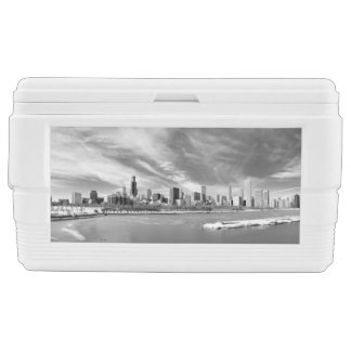 Panoramic view of Chicago skyline in winter Chest Cooler